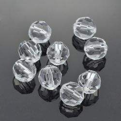 Acrylperlen 10mm rund facetiert crystal -50g